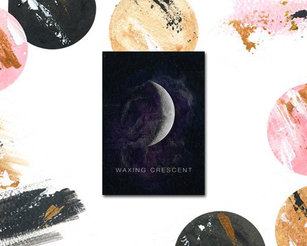 Waxing Crescent Moon Phases Universe Space Customizable Greeting Card