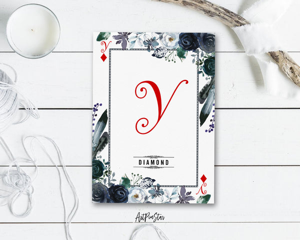 Watercolor Floral Flower Bouquet Initial Letter Y Diamond Monogram Note Cards