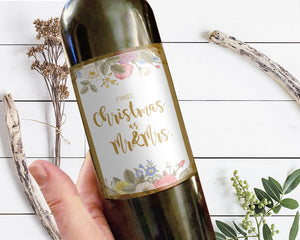 First Christmas as Mr and Mrs Holiday Wine Bottle Customizable Label