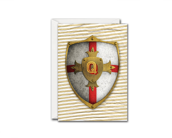 Alphabet Shield Letter Q Signature Monogram Note Cards