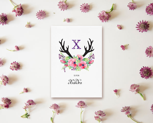 Initial Boho Floral Flower Personalized Letter X is for Name  Monogram Note Cards