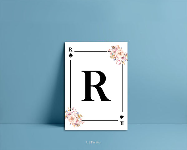 Boho Floral Bouquet Initial Flower Letter R Spade Monogram Note Cards