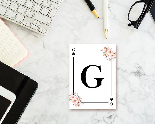 Boho Floral Bouquet Initial Flower Letter G Clover Monogram Note Cards