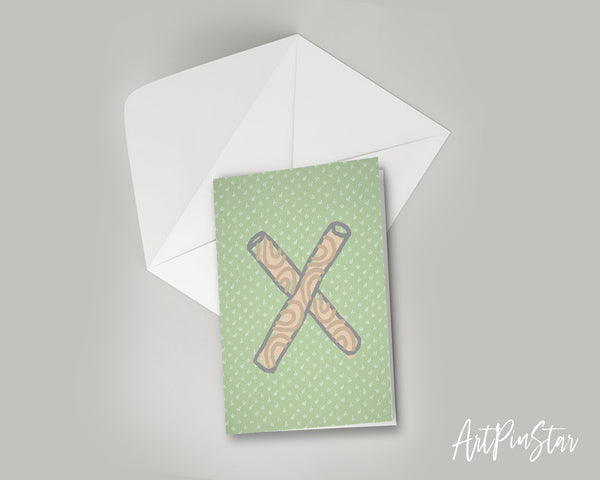 Alphabet Forest Letter X Animal Monogram Note Cards