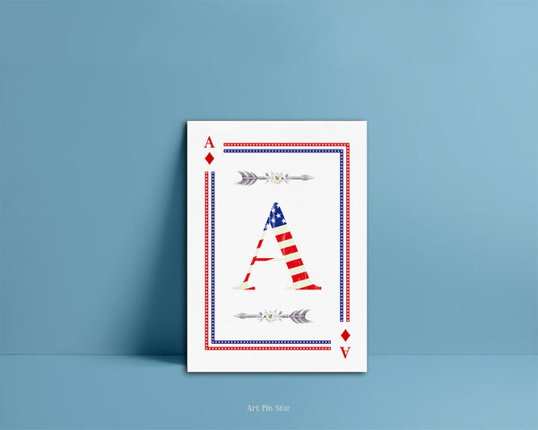 American Flag Letter A Diamond Monogram Note Cards