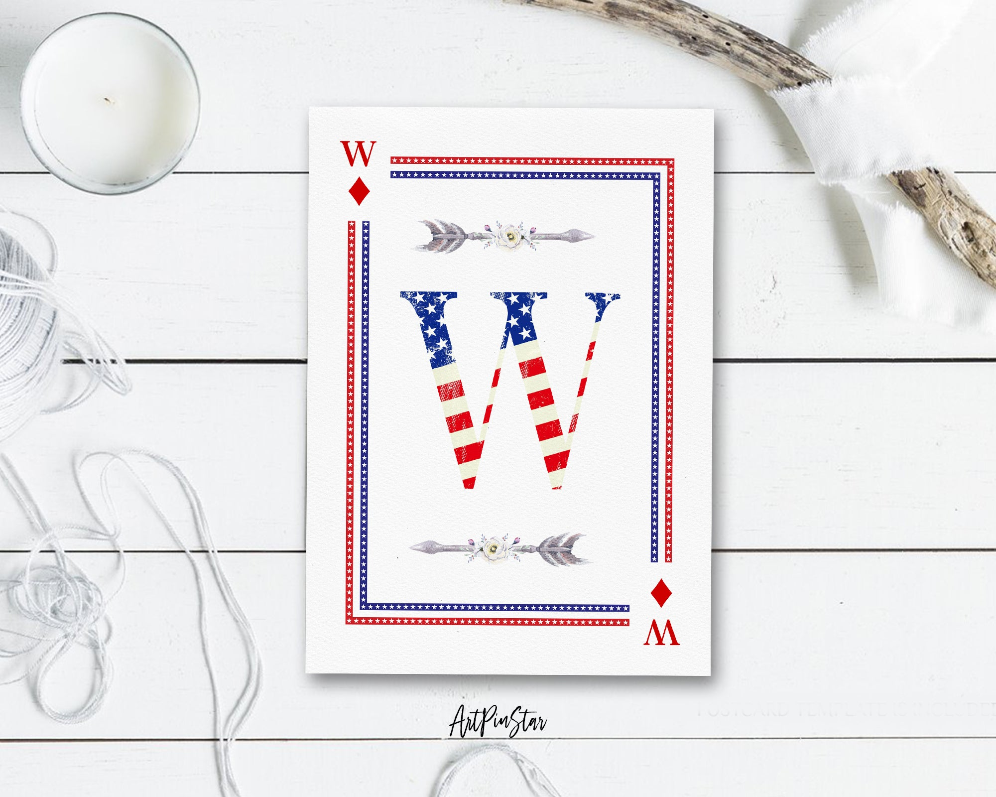 American Flag Letter W Diamond Monogram Note Cards