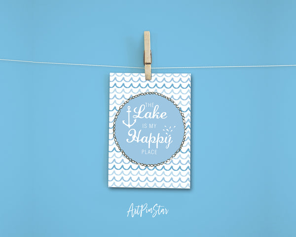 The Lake is my happy place Happiness Quote Customized Greeting Cards