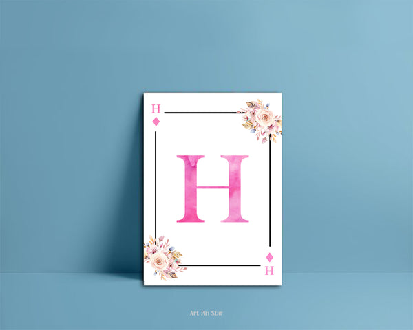 Boho Floral Bouquet Initial Flower Letter H Diamond Monogram Note Cards