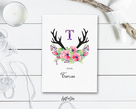 Initial Boho Floral Flower Personalized Letter T is for Name  Monogram Note Cards