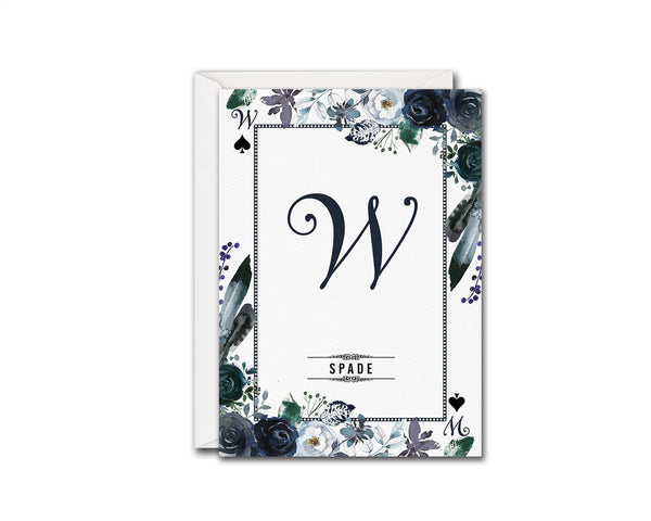 Watercolor Floral Flower Bouquet Initial Letter W Spade Monogram Note Cards