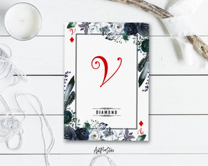 Watercolor Floral Flower Bouquet Initial Letter V Diamond Monogram Note Cards
