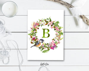 Alphabet Wreath Green Letter B Boho Floral bird Monogram Note Cards