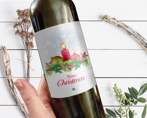 Merry Christmas Holiday Wine Bottle Customizable Label