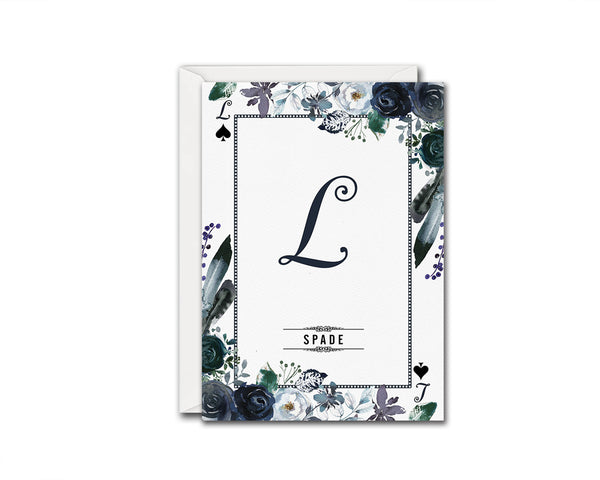 Watercolor Floral Flower Bouquet Initial Letter L Spade Monogram Note Cards