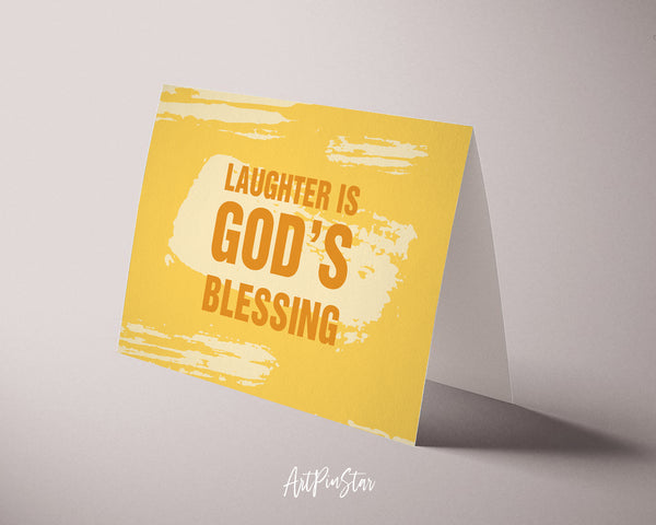 Laughter is God's blessing Bible Verse Customized Greeting Card