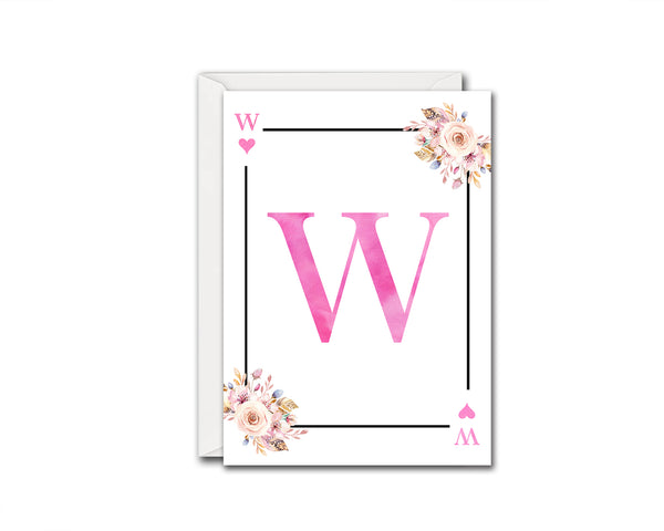 Boho Floral Bouquet Initial Flower Letter W Heart Monogram Note Cards