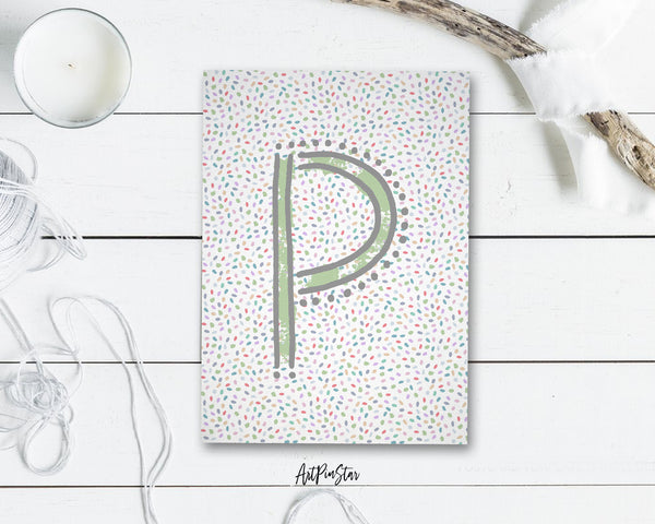 Alphabet Forest Letter P Animal Monogram Note Cards