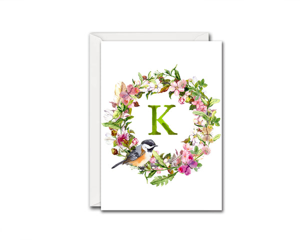 Alphabet Wreath Green Letter K Boho Floral bird Monogram Note Cards