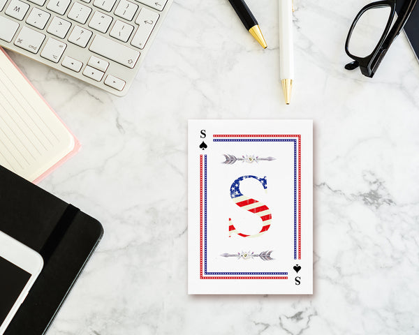 American Flag Letter S Spade Monogram Note Cards