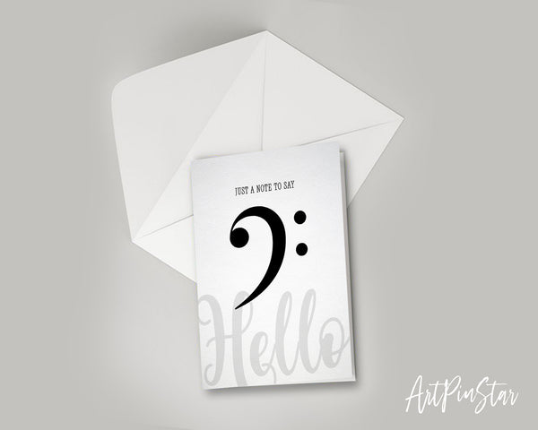 Just a note to say Hello Bass Clef Bass Clef Music Gift Ideas Customizable Greeting Card