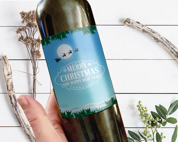 Merry Christmas and Happy New Year Holiday Wine Bottle Customizable Label