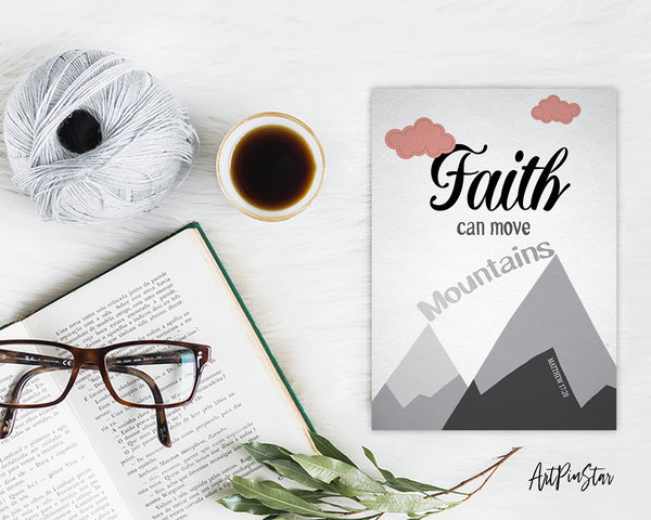 Faith Can Move Mountains Matthew 17:20 Bible Verse Customized Greeting Card