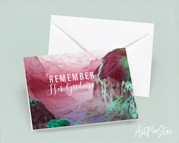 Remember His Goodness Bible Verse Customized Greeting Card