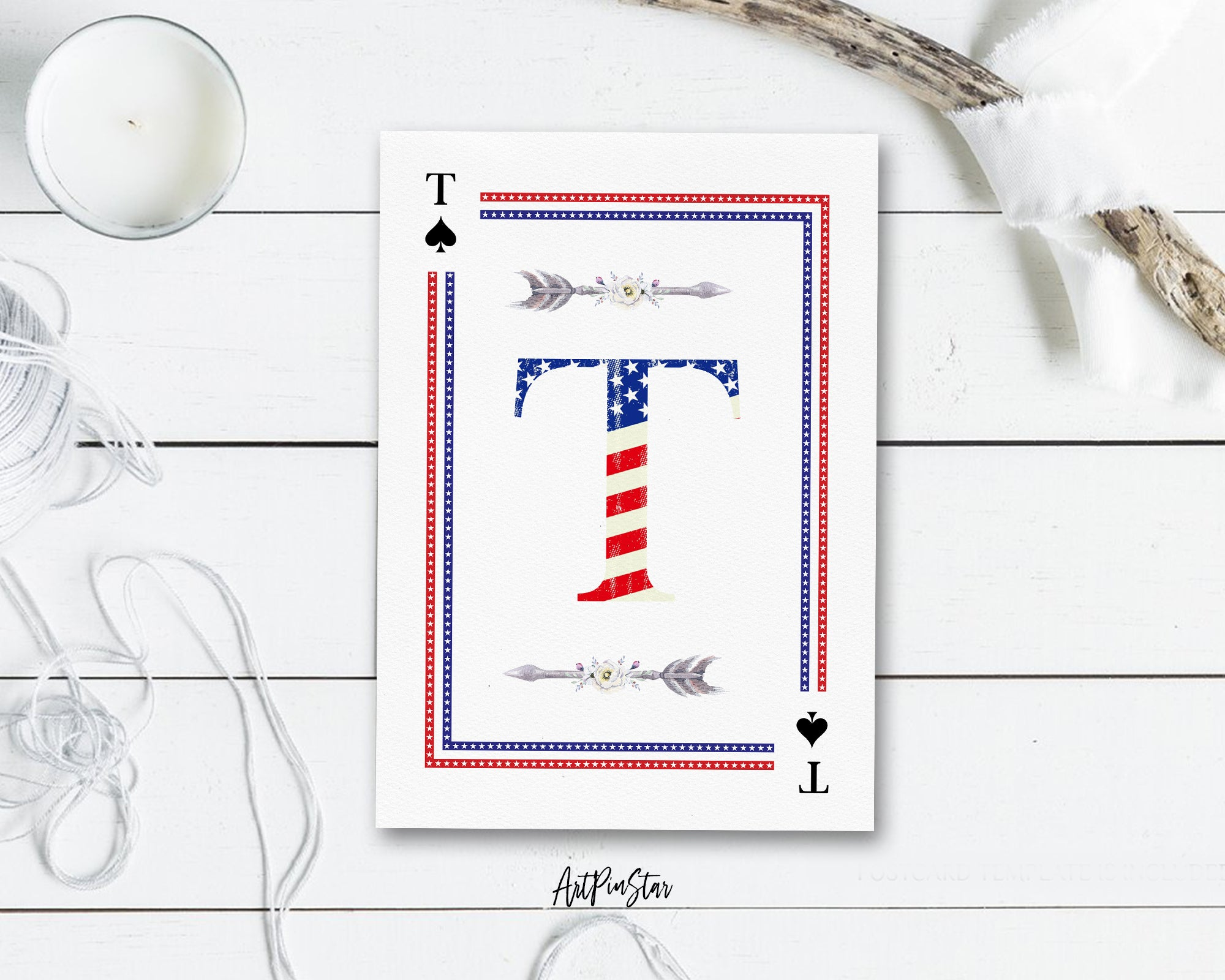 American Flag Letter T Spade Monogram Note Cards