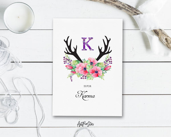 Initial Boho Floral Flower Personalized Letter K is for Name  Monogram Note Cards