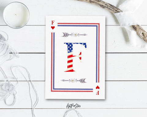 American Flag Letter F Heart Monogram Note Cards