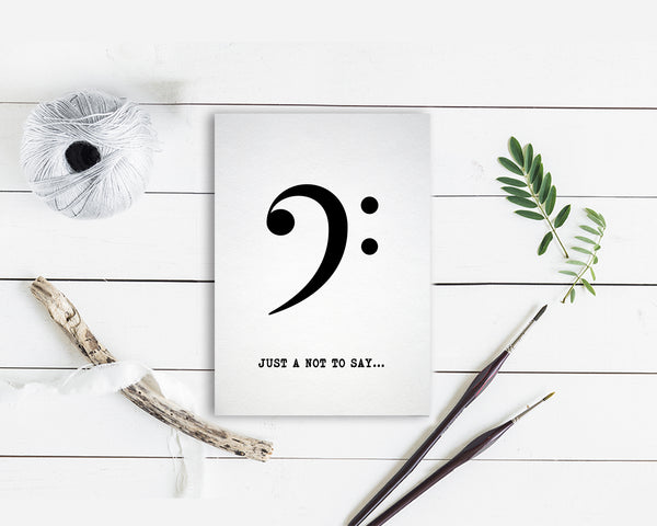 Just a little note to say Bass Clef Bass Clef Music Gift Ideas Customizable Greeting Card