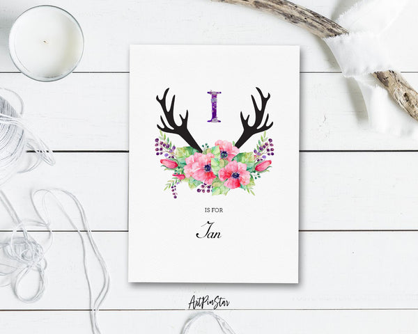 Initial Boho Floral Flower Personalized Letter I is for Name  Monogram Note Cards