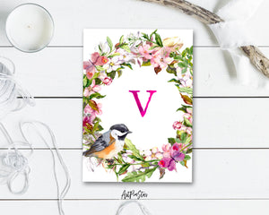 Alphabet Wreath Pink Letter V Boho Floral bird Monogram Note Cards