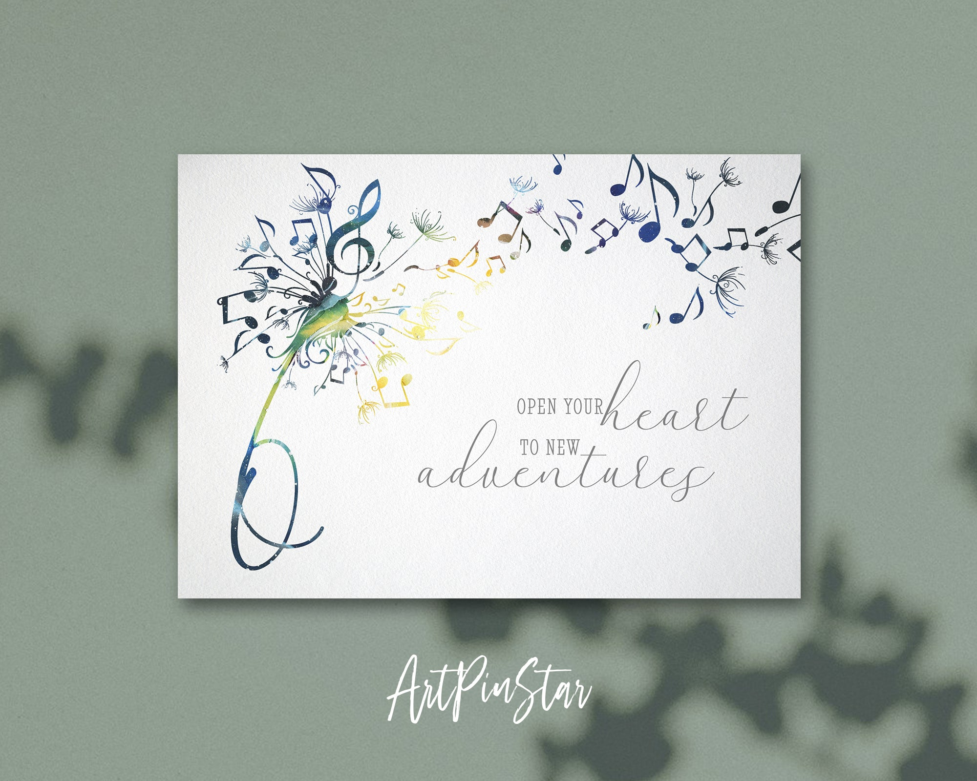 Inspiring Music Quote Letter O Symbol Open your heart to new adventures