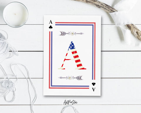 American Flag Letter A Clover Monogram Note Cards