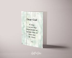 Dear god if today I lose my hope please remin Bible Verse Scripture Quote Customized Greeting Cards