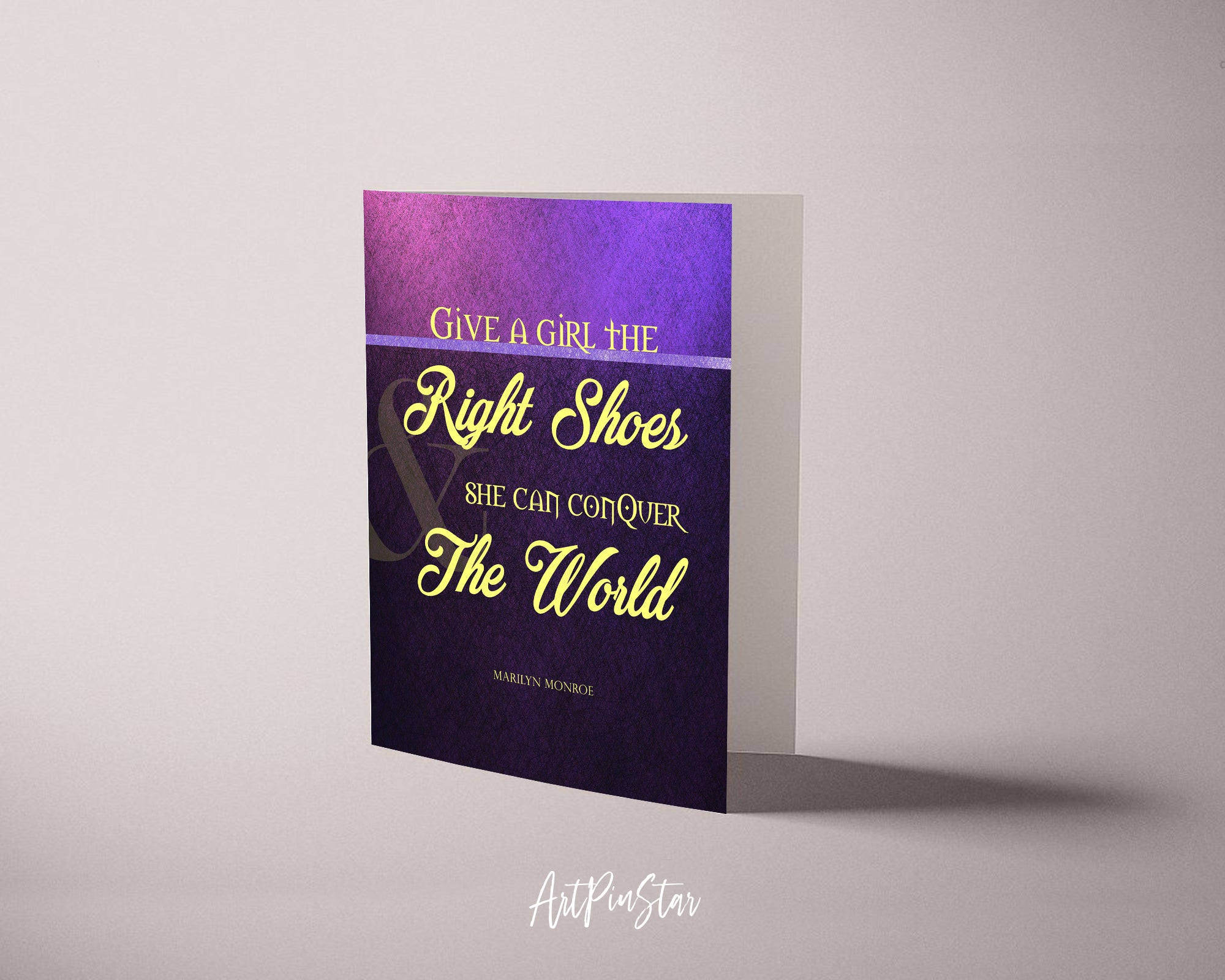Give a girl the right shoes she can conquer the world Marilyn Monroe Inspirational Greeting Card