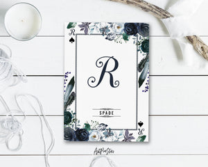 Watercolor Floral Flower Bouquet Initial Letter R Spade Monogram Note Cards