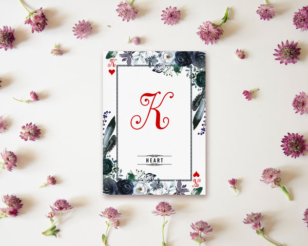 Watercolor Floral Flower Bouquet Initial Letter K Heart Monogram Note Cards