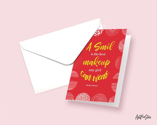 A smile is the best makeup any girl  can wear Marilyn Monroe Inspirational Customized Greeting Card
