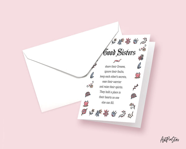 Good Sisters share their dreams Motivational Quote Customized Greeting Cards