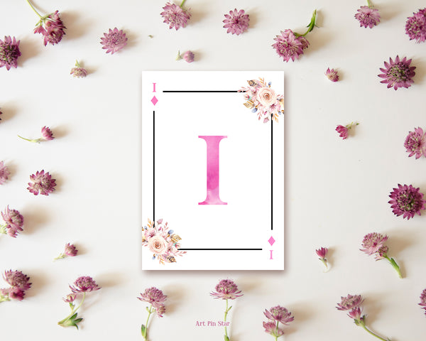 Boho Floral Bouquet Initial Flower Letter I Diamond Monogram Note Cards