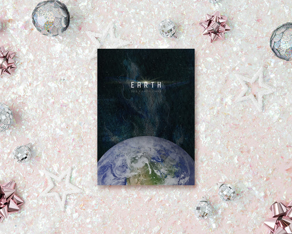 Earth Planet Orbiting Stars Solar System Customizable Greeting Card