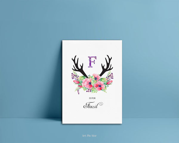 Initial Boho Floral Flower Personalized Letter F is for Name  Monogram Note Cards