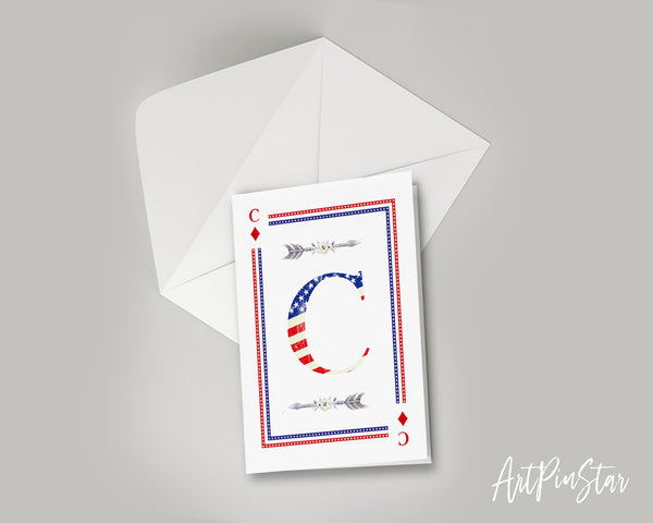 American Flag Letter C Diamond Monogram Note Cards