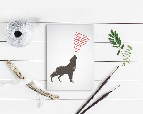 Spring Wolf Animal Greeting Cards