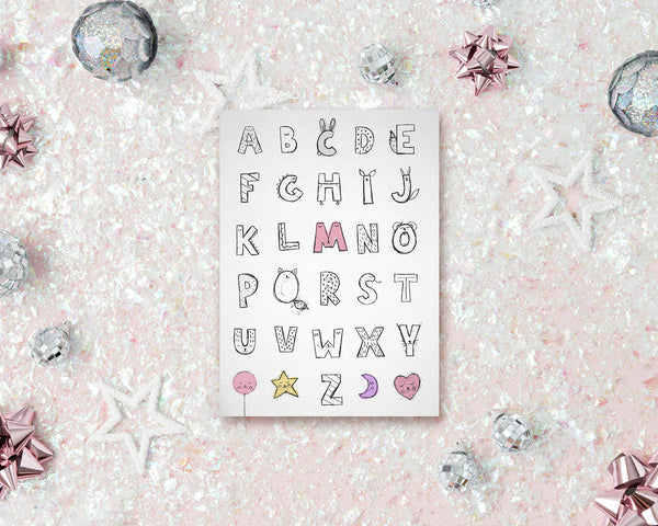 Alphabet Letter Initial Chart A-Z Animal Monogram Note Cards