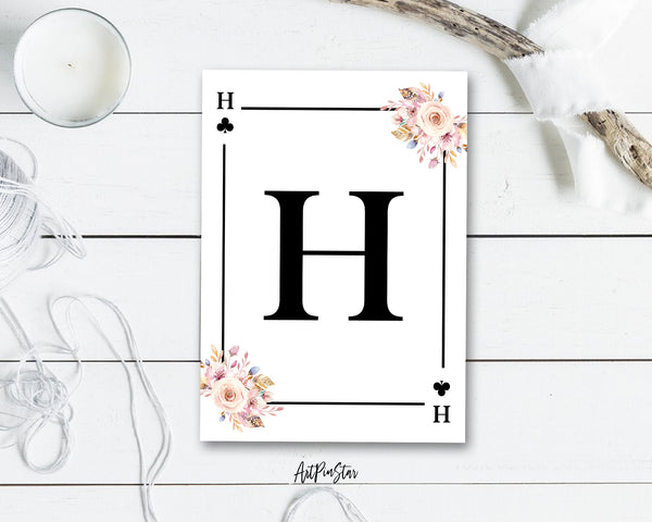 Boho Floral Bouquet Initial Flower Letter H Clover Monogram Note Cards