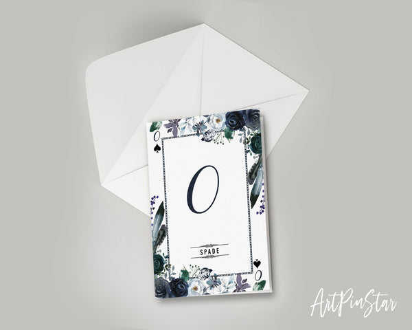 Watercolor Floral Flower Bouquet Initial Letter O Spade Monogram Note Cards