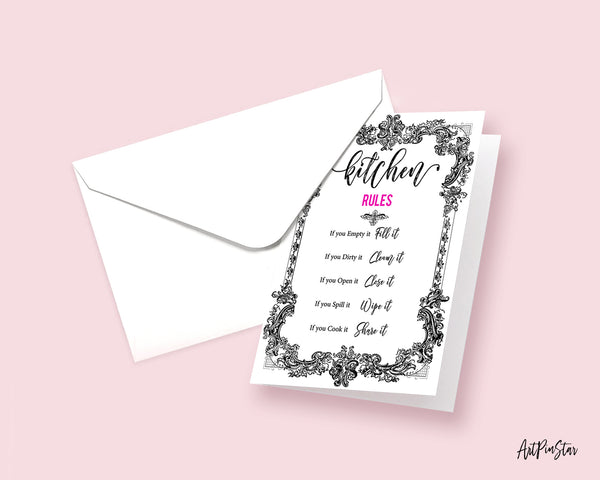 Kitchen Rules Sign Quote Customized Greeting Cards